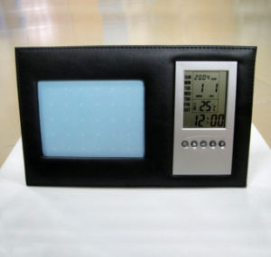 Leather Desk Photo Frame with Clock pictures & photos