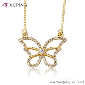 Fashion Elegant CZ Crystal 14k Gold Color Bowknot Imitation Jewelry Pendant Necklace -41480 pictures & photos