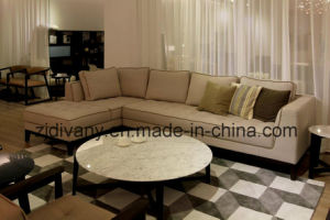 Modern Style Living Room Wooden Fabric Sofa Furniture (D-68) pictures & photos