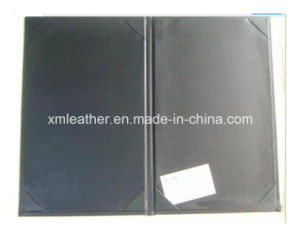 Custom Logo PU Leather Menu Cover for Restaurant (LE010) pictures & photos