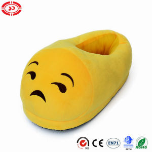 Bitter Expression Look Yellow Plush Soft Stuffed Slipper Emoji Shoe pictures & photos