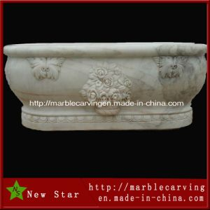 Customer Design White Natural Stone Marble Hand Carving Bathtubs pictures & photos