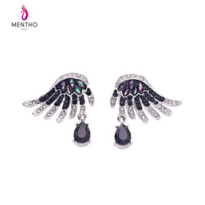 European and American Retro Bright Color Inlaid Crystal Wings Shape Alloy Women′s Earring Water Drop Design Pendant Jewelry pictures & photos
