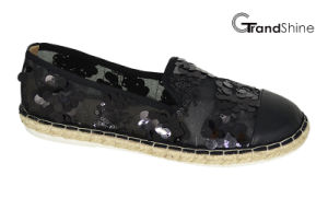 Women′s Causal Espadrille Flat Shoes with Lace Sequins pictures & photos