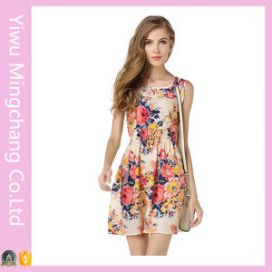Fast Delivery Ladies Round-Neck Sleeveless Floral Mini Dress pictures & photos