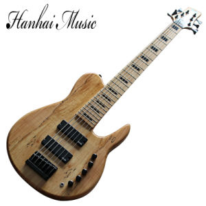 Hanhai Music/6 Strings Electric Bass Guitar with Bark Grain Veneer pictures & photos