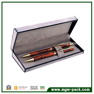 Fashion Design OEM Leather Wrapping Wooden Pen Box pictures & photos