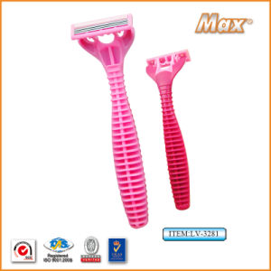 Triple Blade Stainless Steel Blade Disposable Shaving Razor (LV-3281) pictures & photos