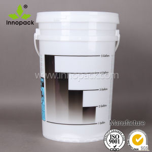 25L Translucent Plastic Bucket with Handle and Lid with Measuring Guide pictures & photos