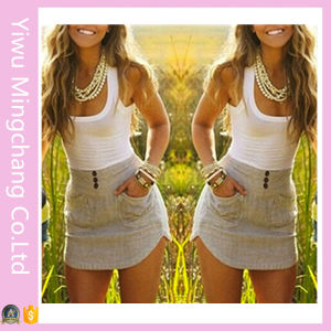 Women Summer Casual Splicing Sleeveless Sexy Mini Dress pictures & photos