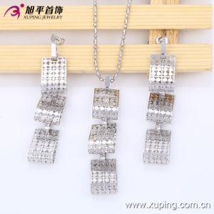 63535 Newest Fashion Pretty Square Rhodium Jewelry Set for Women pictures & photos