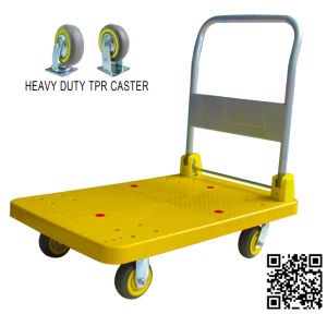 300kg Yellow Plastic Platform Foldable Hand Truck pictures & photos