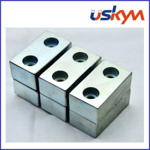 NdFeB Magnet with Two Holes Neodymium Block Magnet Permanent Magnet pictures & photos