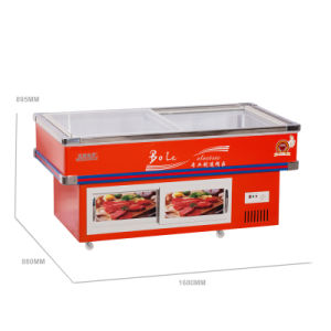 One Compressor Refrigerated and Frozen Front Clear Seafood Freezer pictures & photos