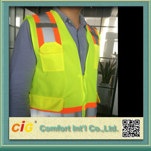 Work Wear High Visibility Safety Reflective Vest with Pocket pictures & photos