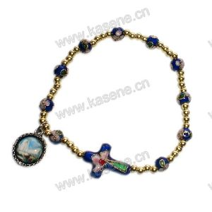 High Quality Fashion Cloisonne Bracelet Wit Cloisonne Cross, Rosary Bracelet
