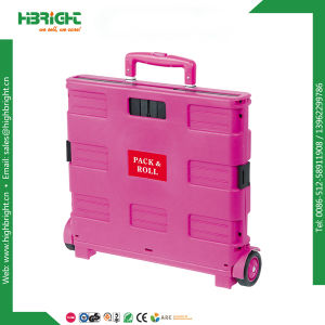 Plastic Shopping Folding Boot Cart Crate with Lid pictures & photos