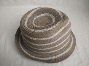 Mixed Color Stripe Sewn Braid Fedora Straw Hat pictures & photos