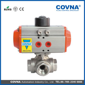 Ss304 Air Control Pneumatic T Type or L Type Three Way Ball Valve