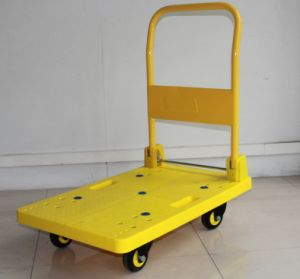 200kgs Yellow Folding Pallet Trolley with Noiseless Wheels pictures & photos