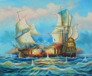 Wholesale Handmade Wall Art Abstract Sea Sail Boat Landscape Oil Painting (LH-333000) pictures & photos