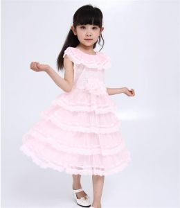 Girl′s Performance Dress with Flowers/Flower Girl′s Dress pictures & photos