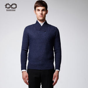 ODM Pure Colour Shawl Collar Pullover Man Sweater pictures & photos