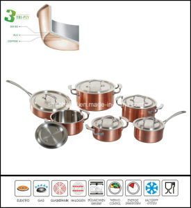 Kitchenware 3ply Copper Cookware Set pictures & photos