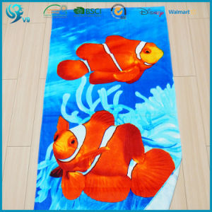 100% Cotton Velour Reactive Printed Custom High Quality Printing Towel pictures & photos