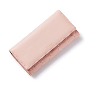 Pink Classic Flap and Quilted Long Square Fashion Women Wallet pictures & photos
