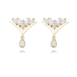 Gold Plated Jeweleries Cubic Zirconia Stud Earrings 2017 pictures & photos