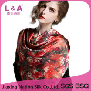 Hot 100% Silk Scarf Square Scaves Shawl for Women pictures & photos