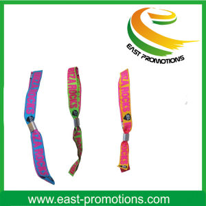 Custom Music Show Fabric Woven Wristband with Lock pictures & photos