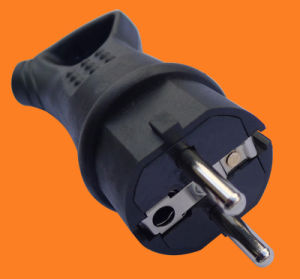 Industrial Rubber Plug 16A German Schuko Power Black Electrical Plug (p6052) pictures & photos