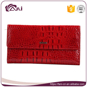 Leather Wallet for Lady, Classical Slim Long Crocodile Grain Leather Wallet for Women pictures & photos