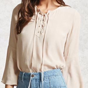 Ladies Fashion Chiffon Bandage Flare Sleeve Short Blouse pictures & photos
