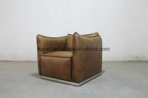 Vintage Brown Color Leather Stainless Steel Base Single Sofa Chair pictures & photos