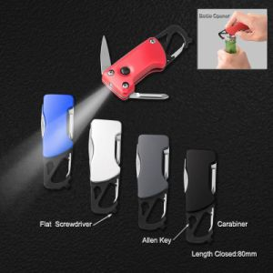 Small Portable Multi Function Knife with Flashlight and Carabiner (#6228) pictures & photos