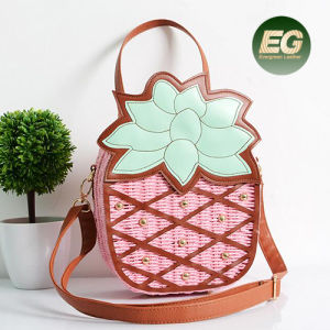 Newest Cute Design Straw Bag Fashion Color Collision Pineapple Handbag with Adjustable Strap T108 pictures & photos