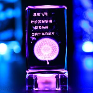 2016 3D Laser Engraving Flower Crystal Cube Crystal Wedding Gift pictures & photos