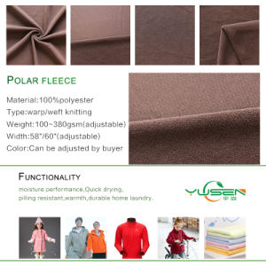 Good Quality 100d/144f Solid Anti Pilling Cationic Polar Fleece Fabric for Jacket pictures & photos