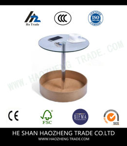 Hzct105 The New Glass Top Surface Solid Wood Bottom Table pictures & photos