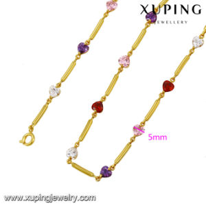 43040 Fashion Heart Design Zircon Jewelry Necklace in 24k Gold Color pictures & photos