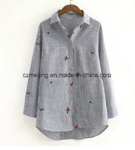 Stripe Women`S Embrodiered Shirt