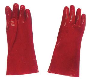 Professional Industrial Working Labor Safety Red PVC Gloves pictures & photos