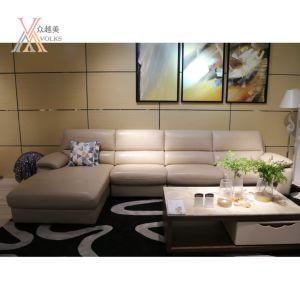 Top Grain Khaki Leather Sofa with Corner (1623B) pictures & photos