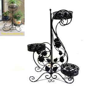 Garden Decoration Decorative Ground Black Metal 3 Flowerpot Rack pictures & photos