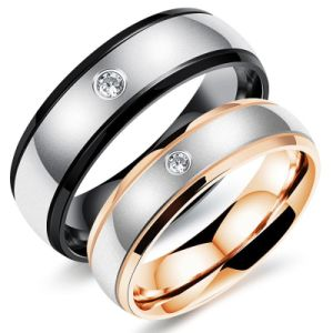 Fashion Stainless Steel Diamond Men Women Couple Rings Jewelry pictures & photos