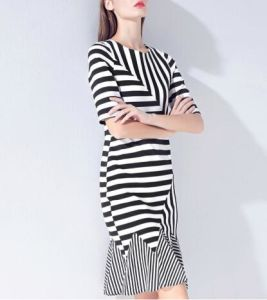 Summer Irregular Color Tail Stripe Elegant Ladies Dress pictures & photos