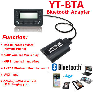 Yatour Car Audio Bluetooth MP3 Hands Free Car Kit for VW Audi Skoda Seat 8pin Plug pictures & photos